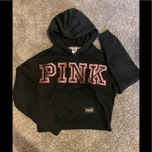 Pink Victoria's Secret crop hoodie S